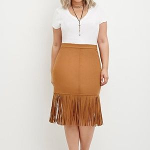 Tan suede pencil skirt with fringe trim